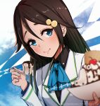 1girl arm_up bangs black_hair black_shirt blue_eyes blue_neckwear blurry bowl cherry chocolate closed_mouth commentary_request depth_of_field food fruit hair_between_eyes hair_ornament holding holding_bowl holding_spoon ice_cream izumi_reina kerchief long_hair long_sleeves looking_at_viewer magion02 musaigen_no_phantom_world shirt solo spoon watermark web_address wing_collar