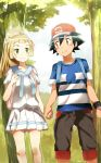 1boy 1girl backpack bag black_hair brown_eyes creatures_(company) game_freak hand_holding highres kuriyama lillie_(pokemon) nintendo pokemon pokemon_(anime) pokemon_sm_(anime) satoshi_(pokemon) shirt skirt striped striped_shirt z-ring