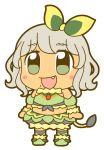 1girl :d bkub blush_stickers bow crop_top eyebrows_visible_through_hair fang full_body fur_trim green_bow green_eyes green_footwear green_shirt green_skirt grey_hair hair_bow lion_tail midriff mole mole_under_mouth multicolored_bow no_nose open_mouth pripara shirt short_hair sidelocks simple_background skirt sleeveless sleeveless_shirt smile solo tail taiyou_pepper tan white_background yellow_bow
