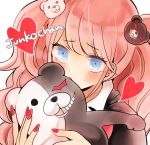 1girl bear_hair_ornament blue_eyes blush character_name commentary_request danganronpa danganronpa_1 dot_nose enoshima_junko evil_grin evil_smile eyebrows_visible_through_hair face grin hair_ornament heart heterochromia holding long_hair looking_at_viewer monokuma nail_polish pink_hair red_heart red_nails smile solo tomachi7727 twintails