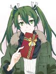 1girl chocolate_bar commentary_request facing_viewer food fur_collar gradient gradient_background green_eyes green_hair happy_valentine holding holding_food kantai_collection long_hair parka pink_background ribbed_sweater rowan_(kanonsecret) scarf smile solo sweater twintails twitter_username upper_body zuikaku_(kantai_collection)