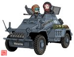 2girls armored_car armored_vehicle artist_logo artist_name badge bag bangs black_hoodie blue_hair blue_shirt brown_hoodie commentary_request eyebrows_visible_through_hair ground_vehicle gun hair_between_eyes hood hood_up iron_cross kemono_friends kemurikusa leaf m.wolverine machine_gun military military_uniform military_vehicle millipen_(medium) multiple_girls necktie open_mouth red_scarf redhead riku_(kemurikusa) scarf sdkfz_222 shirt shovel sidelocks simple_background striped_hoodie traditional_media tsuchinoko_(kemono_friends) uniform watermark weapon white_background
