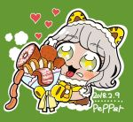 +_+ 1girl :3 animal_ears bkub blush blush_stickers bouquet bow character_name commentary_request dated dot_nose eyebrows_visible_through_hair flower food fur_trim green_background green_eyes grey_hair heart holding holding_bouquet lion_ears lion_paw meat mole mole_under_mouth outline paws pripara saliva sausage short_hair simple_background solo steam taiyou_pepper tongue tongue_out upper_body white_outline yellow_neckwear