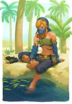 1boy alternate_costume arm_support ayumi_(830890) bare_shoulders barefoot blonde_hair blue_eyes bridal_gauntlets circlet crossdressing desert detached_sleeves feet gerudo_link highres link looking_down navel nintendo otoko_no_ko palm_tree plant sheikah_slate shoes_removed sitting soaking_feet solo stomach strap the_legend_of_zelda the_legend_of_zelda:_breath_of_the_wild toes tree veil water