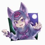 1girl :d animal_ears ascot bangs bat_ears claw_pose commentary common_vampire_bat_(kemono_friends) eyebrows_visible_through_hair fangs full_moon gradient_hair highres kemono_friends long_sleeves looking_at_viewer moon multicolored_hair okome_kogashi open_mouth pink_hair pink_neckwear sailor_collar shirt simple_background smile solo v-shaped_eyebrows violet_eyes white_background white_hair white_shirt