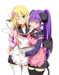2girls ;q amatsuka_poi apron bangs black_choker black_legwear black_sailor_collar black_skirt black_wings blonde_hair blue_eyes blush bowl chikanoko chocolate choker closed_mouth collarbone commentary_request curled_horns demon_girl demon_horns demon_tail demon_wings eyebrows_visible_through_hair hair_between_eyes hair_ornament head_tilt heart heart_hair_ornament high_ponytail highres holding holding_bowl horns long_sleeves mixing_bowl multiple_girls naito_mare one_eye_closed open_mouth pink_apron pink_sweater pleated_skirt ponytail purple_hair purple_sweater ragho_no_erika red_eyes red_neckwear sailor_collar simple_background skirt sleeves_past_wrists smile spatula sweat sweater tail thigh-highs tongue tongue_out white_apron white_background white_legwear white_wings wings