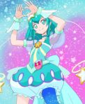 1girl aqua_choker aqua_eyes aqua_hair aqua_skirt blue_legwear bubble_skirt choker closed_mouth cure_milky hagoromo_lala hair_ornament haruyama_kazunori heart heart_hands looking_at_viewer magical_girl precure short_hair single_thighhigh skirt smile solo sparkle sparkle_background standing star star_hair_ornament star_twinkle_precure thigh-highs wrist_cuffs