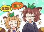 2girls animal_ears brown_hair closed_eyes fang futatsuiwa_mamizou glasses japanese_clothes leaf leaf_on_head light_brown_hair multiple_girls notice_lines open_mouth pote_(ptkan) raccoon_ears raccoon_tail round_eyewear short_hair tail tanuki_extra thick_eyebrows topknot topknot_tanuki touhou upper_body