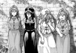 4girls bangs braid brick_wall charm_(object) chinese_clothes commentary_request dress flying_sweatdrops hat hong_meiling jiangshi koyubi_(littlefinger1988) long_hair looking_at_viewer monochrome multiple_girls ofuda plump shirt short_hair short_sleeves smile talisman touhou twin_braids