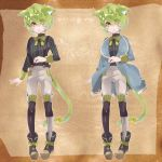 1boy animal_ears cat_ears cat_tail catboy character_sheet eyes_visible_through_hair green_hair looking_at_viewer looking_away neck_ribbon nemui_lazurite original pinstripe_pattern pinstripe_shirt ribbon solo striped suspenders tail tail_ribbon yellow_eyes