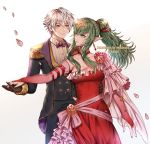 1boy 1girl bare_shoulders blush bracelet breasts cape chiki couple dancing dress elbow_gloves fire_emblem fire_emblem:_kakusei fire_emblem:_monshou_no_nazo fire_emblem_heroes formal gloves green_eyes green_hair hair_ornament hair_ribbon hand_holding intelligent_systems jewelry large_breasts long_hair male_my_unit_(fire_emblem:_kakusei) mamkute my_unit_(fire_emblem:_kakusei) nintendo pink_dress pointy_ears ponytail red_dress ribbon robe short_hair simple_background smile suit tiara wani_(fadgrith) white_hair