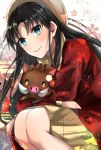 1girl animal black_hair blue_eyes coat crossed_arms dress eyebrows_visible_through_hair fate/stay_night fate_(series) floating_hair getsuyoubi grey_hat grey_sweater highres holding holding_animal long_hair looking_at_viewer open_clothes open_coat red_coat ribbed_sweater shiny shiny_hair short_dress smile solo squatting sweater sweater_dress tohsaka_rin turtleneck turtleneck_sweater very_long_hair