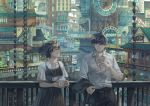 1boy 1girl against_railing architecture bangs belt black_dress brown_hair building cigarette cityscape clock closed_eyes commentary_request cup dress east_asian_architecture highres holding holding_cigarette holding_cup id_card jacket jacket_removed mug original railing salaryman scenery shirt short_hair sleeveless sleeveless_dress smoke smoking sophie_usui steam white_shirt