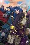 1boy 1girl armor blue_eyes blue_hair blush cape couple fingerless_gloves fire_emblem fire_emblem:_kakusei gloves hand_holding kero_sweet long_hair looking_at_viewer lucina male_my_unit_(fire_emblem:_kakusei) mamkute my_unit_(fire_emblem:_kakusei) nintendo open_mouth robe short_hair smile super_smash_bros. tiara white_hair