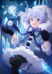 1girl :d absurdres alpha_(ypalpha79) animal_ears bangs bear_ears black_gloves black_legwear blue_bow blue_coat blue_ribbon boots bow buttons clenched_hand clouds cloudy_sky commentary eyebrows_visible_through_hair floating_hair from_below full_moon fur-trimmed_boots fur_coat fur_trim gloves hand_up highres hood hood_up hooded_coat huge_filesize ice lavender_hair leg_up long_sleeves looking_at_viewer moon night night_sky open_mouth original outdoors pantyhose pocket ribbon round_teeth short_hair sky smile snowball solo standing standing_on_one_leg star_(sky) starry_sky symbol_commentary tareme teeth violet_eyes white_footwear