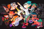 2girls 6+boys assisted_exposure bandanna bobble-chan_(splatoon) bobblehat cellphone censored corocoro_comic corodragon ear_piercing fangs glasses glasses-kun_(splatoon) gloves-kun_(splatoon) goggle-kun_(splatoon) goggles goggles_on_head hachi_(splatoon) headphone-chan_(splatoon) highres inkling inoue_seita multiple_boys multiple_girls novelty_censor octarian octoling official_art opaque_glasses pantsing phone piercing prince_(splatoon) rectangular_eyewear rectangular_mouth skull-kun_(splatoon) smartphone splatoon splatoon_(manga) splatoon_(series) splatoon_2 tank_top tentacle_hair