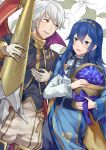 1boy 1girl :d a_meno0 basket black_neckwear blue_bow blue_eyes blue_flower blue_hair blush boots bow brown_eyes dress dutch_angle fire_emblem fire_emblem:_kakusei flower formal gloves grey_pants hair_between_eyes hairband holding holding_basket lavalliere long_hair lucina male_my_unit_(fire_emblem:_kakusei) my_unit_(fire_emblem:_kakusei) nintendo open_mouth pants polearm shiny shiny_hair silver_hair smile spear standing thigh-highs thigh_boots weapon white_gloves
