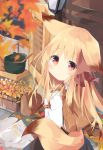 1girl :o animal_ears autumn_leaves backpack bag blonde_hair blue_skirt blurry blurry_foreground blush bow brown_bow brown_hair commentary_request depth_of_field fox_ears fox_girl fox_tail gradient_hair hair_bow hands_up highres kushida_you long_hair long_sleeves looking_at_viewer looking_to_the_side multicolored_hair original parted_lips pot red_eyes shirt skirt solo tail very_long_hair wall_lamp white_shirt windowsill