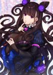 1girl bangs black_dress breasts brown_hair calligraphy_brush commentary_request dress eyebrows_visible_through_hair fate/grand_order fate_(series) fingernails hair_ornament hand_up highres holding holding_paintbrush juliet_sleeves karokuchitose large_breasts long_hair long_sleeves looking_at_viewer murasaki_shikibu_(fate) paintbrush parted_lips puffy_sleeves sleeves_past_wrists solo striped two_side_up vertical-striped_dress vertical_stripes very_long_hair violet_eyes wide_sleeves