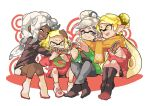 +_+ 4girls alternate_eye_color alternate_hair_color aori_(splatoon) blonde_hair christmas dark_skin domino_mask earrings grey_eyes grey_hair hime_(splatoon) hotaru_(splatoon) hug iida_(splatoon) jewelry long_hair mask mole mole_under_eye multiple_girls open_mouth pants pointy_ears scarf shared_scarf short_hair skirt smile socks splatoon splatoon_(series) splatoon_2 suction_cups tearing_up tentacle_hair wong_ying_chee yellow_eyes