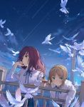 2girls ahoge artoria_pendragon_(all) bird blonde_hair blouse blue_sky breasts building burrito clouds dove expressionless fate/grand_order fate/stay_night fate_(series) green_eyes handrail highres long_hair looking_afar looking_at_viewer medium_breasts multiple_girls neee-t outdoors purple_hair red_eyes saber scathach_(fate)_(all) scathach_(fate/grand_order) skirt sky