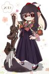 1girl 2019 bangs black_hair black_hakama blunt_bangs closed_mouth domino_mask floral_print geta hair_ribbon hakama hakama_skirt hand_on_hip inkling japanese_clothes legs_apart looking_at_viewer maco_spl mask octobrush_(splatoon) pointy_ears ponytail red_eyes ribbon shadow sleeves_past_elbows smile solo splatoon_(series) standing tabi tentacle_hair white_legwear wide_sleeves