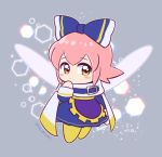 1girl blue_bow blush blush_stickers bow cape chousen_yuuki cosplay dress eyebrows_visible_through_hair fairy fairy_wings finger_to_mouth grey_background hair_bow hexagon kirby_(series) large_bow looking_to_the_side magolor magolor_(cosplay) nintendo pink_hair ribbon ribbon_(kirby) short_hair signature simple_background solo wings yellow_eyes yellow_footwear
