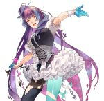1girl :d bangs black_footwear blue_gloves blue_legwear boots corset floating_hair gloves half_gloves highlights highres layered_skirt long_hair looking_at_viewer macross macross_delta mikumo_guynemer miniskirt multicolored_hair open_mouth outstretched_arms purple_hair red_eyes shiny shiny_clothes short_sleeves simple_background single_boot single_leg_pantyhose skirt smile solo standing thigh-highs thigh_boots very_long_hair white_background white_skirt wrist_cuffs yokuni_(yokunill001121)