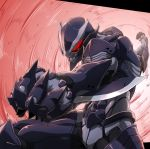 1boy absurdres akimaru armor blade full_armor glowing glowing_eyes highres male_focus original pixiv_fantasia_last_saga punching red_eyes solo