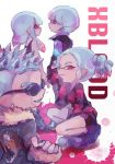 2boys 2girls bowl_cut coat domino_mask highres hime_cut inkling mask multicolored_hair multiple_boys multiple_girls plum0o0 red_eyes short_shorts shorts spiky_hair splatoon splatoon_(manga) splatoon_(series) splatoon_2 sunglasses twintails white_background x-blood