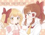 +_+ 2girls alternate_hair_length alternate_hairstyle alternate_headwear apron arm_up blonde_hair blush bow braid brown_eyes brown_hair chocolate chocolate_heart cravat english_text feeding fingernails hair_bow hair_tubes hakurei_reimu half_updo happy_valentine hase_tsumugi heart high_collar highres holding_chocolate kirisame_marisa long_sleeves looking_at_another looking_to_the_side multiple_girls open_mouth pink_apron polka_dot polka_dot_background red_bow red_vest shirt short_hair side_ponytail sidelocks single_braid touhou two-tone_background upper_body valentine vest white_background white_shirt yellow_eyes yellow_neckwear