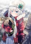 1girl anastasia_(fate/grand_order) blue_eyes blurry blurry_foreground blush choker christmas closed_mouth coat cowboy_shot depth_of_field doll doll_hug down_jacket dress fate/grand_order fate_(series) fur-trimmed_jacket fur_hat fur_trim hair_over_one_eye hat highres holly ikeuchi_tanuma jacket long_bangs long_hair long_sleeves open_clothes open_coat red_coat shvibzik_snow silver_hair sleeves_past_wrists snow standing white_dress