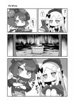 2girls abigail_williams_(fate/grand_order) alphy comic crossed_arms fate/grand_order fate_(series) greyscale hair_ornament hat highres katsushika_hokusai_(fate/grand_order) long_hair monochrome multiple_girls sasha_braus television the_ring videocasette