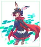 1girl animal_ears bandolier belt black_dress black_hair black_legwear cameron_maccloud cape cloak corset cross crossover dress frilled_dress frills gen_lock goggles goggles_on_head gradient_hair grey_eyes highres hood hooded_cloak iesupa long_sleeves multicolored_hair pantyhose red_cape redhead ruby_rose rwby short_hair solo two-tone_hair