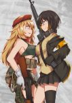 2girls ak47_(girls_frontline) armband bangs belt_pouch beret black_legwear blonde_hair blue_eyes bra braid breasts brown_hair camouflage camouflage_shorts clip coat commentary_request cowboy_shot explosive eyepatch girls_frontline gloves green_bra grenade grey_background gun hat highres jacket long_hair m16a1 m16a1_(girls_frontline) multicolored_hair multiple_girls open_clothes open_coat persocon93 pleated_skirt pouch red_scarf scarf shorts single_thighhigh skirt smile streaked_hair thigh-highs trigger_discipline underwear vest weapon yellow_vest