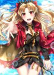 1girl :d black_leotard black_sleeves blonde_hair blush bow cape cowboy_shot cpu_(hexivision) earrings ereshkigal_(fate/grand_order) eyebrows_visible_through_hair fate/grand_order fate_(series) floating_hair getsuyoubi hair_bow highres hood hood_down hooded jewelry leotard long_hair long_sleeves looking_at_viewer open_mouth red_bow red_cape red_eyes shocker single_sleeve smile solo standing thigh_gap very_long_hair