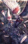 3girls 6+boys armor arrow carrying commentary_request fantasy feathered_wings feathers fire forest from_above harpy helmet long_hair monster_girl multiple_boys multiple_girls nature noba outdoors pixiv_fantasia pixiv_fantasia_last_saga redhead signature wings