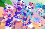 3girls \n/ aqua_eyes aqua_hair aqua_nails bandanna breasts cellphone covered_mouth cowboy_shot creatures_(company) exeggutor eyebrows_visible_through_hair eyes_visible_through_hair feet_out_of_frame game_freak gen_1_pokemon gen_7_pokemon hat jewelry long_hair mareanie medium_hair mimikyu multiple_girls nail_polish necklace nintendo outdoors phone pink_eyes pink_hair pink_nails poke_ball_theme pokemon pulled_by_self purple_hair purple_nails queen_ashi self_shot shorts sitting sleeveless smartphone smartphone_case smile tank_top team_skull_grunt torn_clothes torn_shorts v violet_eyes white_shorts
