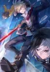 1girl against_glass ahoge black_hair blonde_hair broken_glass brown_hair clenched_teeth closed_mouth evil_smile falling glass highres holding holding_sword holding_weapon hood hoodie hyde_(under_night_in-birth) knife linne looking_down multicolored_hair multiple_boys necktie qitoli red_eyes serious seth_(under_night_in-birth) short_hair shorts smile sword teeth two-tone_hair under_night_in-birth weapon white_hair
