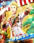 blonde_hair blue_eyes character_name idolmaster idolmaster_side-m ijuuin_hokuto jacket new_year short_hair smile