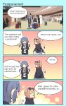 2girls 4koma airport black_footwear black_pants blonde_hair blue_hair cellphone closed_eyes comic english_text eyewear_on_head flandre_scarlet highres holding holding_phone hood hood_down hooded_jacket hoodie indoors jacket multiple_girls open_mouth pants phone pointy_ears red_eyes remilia_scarlet shoes smile speech_bubble suitcase sunglasses talking_on_phone touhou upper_body walking white_footwear wings yoruny