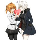 2girls ahoge bangs black_dress black_legwear black_skirt blush breasts coat commentary_request dress fate/grand_order fate_(series) fujimaru_ritsuka_(female) fur-trimmed_coat fur_collar fur_trim hair_between_eyes highres jacket jeanne_d'arc_(alter)_(fate) jeanne_d'arc_(fate)_(all) kuro_neko_(artist) medium_breasts multiple_girls one_side_up open_mouth orange_eyes orange_hair pantyhose scrunchie short_hair side_ponytail silver_hair skirt smile tsurime valentine white_background white_jacket wicked_dragon_witch_ver._shinjuku_1999 yellow_eyes
