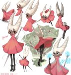 1girl absurdres bodysuit boots bug butterfly cloak dark_skin glowing_butterfly highres hollow_knight hornet_(hollow_knight) humanization insect looking_at_viewer looking_to_the_side maga_(comicfans100) multiple_views needle red_cloak sleeping smile traditional_media watercolor_(medium) white_hair
