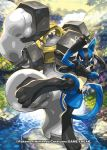 blue_fur canine creatures_(company) game_freak gen_4_pokemon gen_7_pokemon lucario melmetal nagimiso nintendo official_art pokemon red_eyes spikes