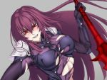 1girl akx90000 blurry blurry_background blush bodysuit breasts clenched_teeth covered_nipples erect_nipples eyebrows_visible_through_hair fangs fate/grand_order fate_(series) female floating_hair gae_bolg grey_background grin hair_intakes highres holding holding_spear holding_weapon large_breasts leaning leaning_to_the_side long_hair looking_at_viewer pauldrons polearm purple_bodysuit purple_hair red_eyes scathach_(fate)_(all) scathach_(fate/grand_order) shoulder_pads simple_background skin_tight slit_pupils smile solo spear teeth torn_bodysuit torn_clothes type-moon upper_body very_long_hair weapon