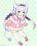 1girl beads blue_eyes dragon_horns dress full_body hair_beads hair_ornament hairband horns kanna_kamui kobayashi-san_chi_no_maidragon long_hair low_twintails o_hamachi open_mouth pink_dress pink_hair ribbon shoes short_dress solo tail thigh-highs twintails white_legwear
