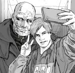 2boys ;) bald cellphone greyscale highres leon_s_kennedy looking_at_viewer monochrome monster mr._x multiple_boys one_eye_closed phone police police_uniform pose resident_evil resident_evil_2 self_shot smartphone smile taking_picture trench_coat tyrant uniform v