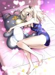 1girl bandage barefoot bed bed_sheet black_ribbon blue_swimsuit blush boko_(girls_und_panzer) breasts brown_eyes cleavage closed_mouth commentary crotch_seam eyebrows_visible_through_hair fetal_position food food_print from_above from_side girls_und_panzer hair_ribbon heart highres holding holding_stuffed_animal legs light_brown_hair lights long_hair looking_at_viewer lying macaron nakahira_guy on_bed on_side one-piece_swimsuit pillow ribbon school_swimsuit shimada_arisu side_ponytail small_breasts smile solo stuffed_animal stuffed_toy swimsuit teddy_bear thighs