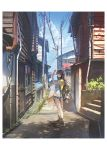 1girl backpack bag black_footwear blue_sky brown_hair building clouds denim denim_shorts door hand_up huge_filesize lantern leaf long_hair map original outdoors pipes power_lines scenery shadow shirt sho_(shoichi-kokubun) shoes shorts sky solo stairs standing t-shirt