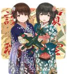 2019 2girls aircraft airplane alternate_hairstyle bag black_eyes black_hair blue_kimono boar braid brown_eyes brown_hair chinese_zodiac crown_braid e16a_zuiun eyebrows_visible_through_hair floral_print flower french_braid green_kimono hair_between_eyes hair_flower hair_ornament hayashi_naoharu highres imperial_japanese_navy isonami_(kantai_collection) japanese_clothes kantai_collection kimono long_hair long_sleeves looking_at_viewer low_twintails multiple_girls new_year obi open_mouth sash shirayuki_(kantai_collection) short_twintails smile twintails white_background wide_sleeves year_of_the_pig zuiun_(kantai_collection)